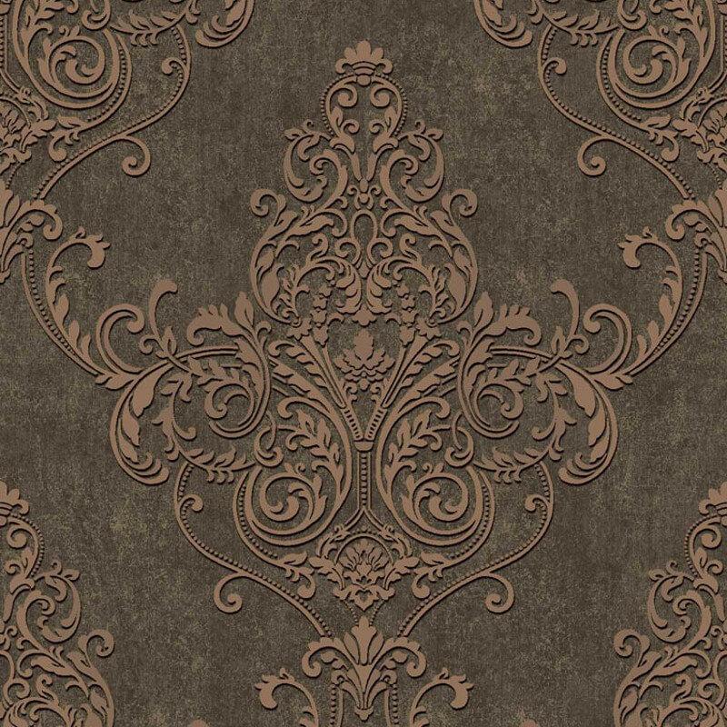 Arthouse Valdina Damask Bronze Glitter Wallpaper - 292001