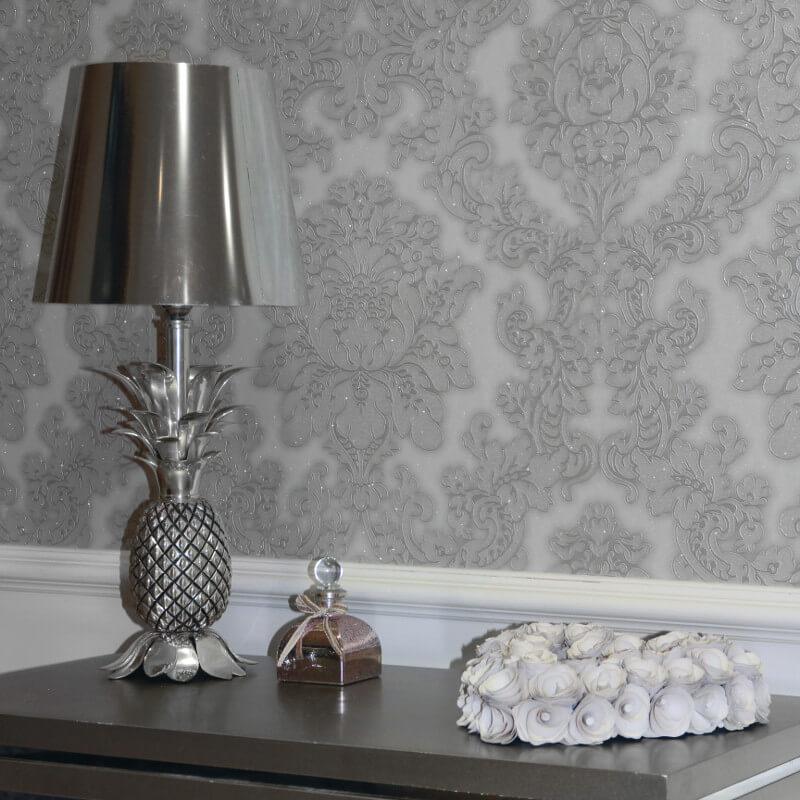 - Arthouse Vicenza Damask Wallpaper In Grey - 270401