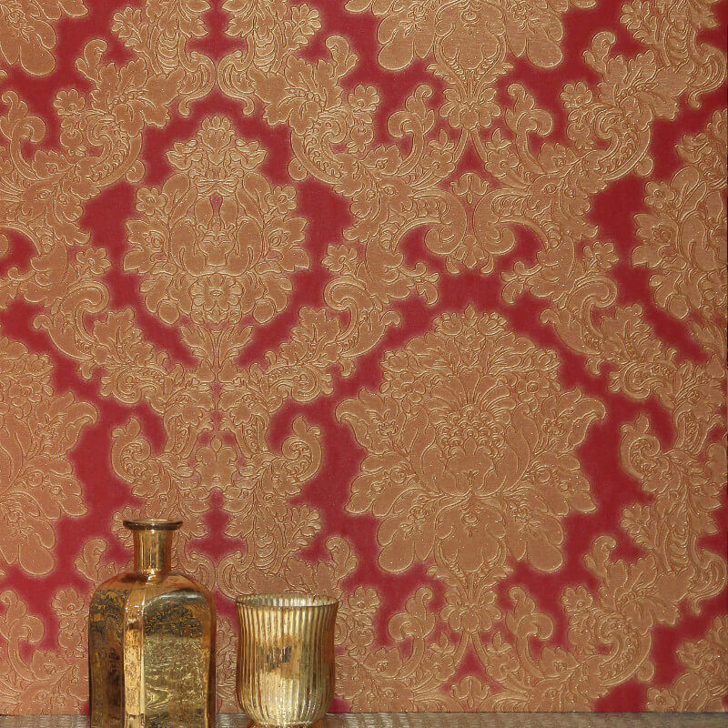 - Arthouse Vicenza Damask Wallpaper In Red - 270404