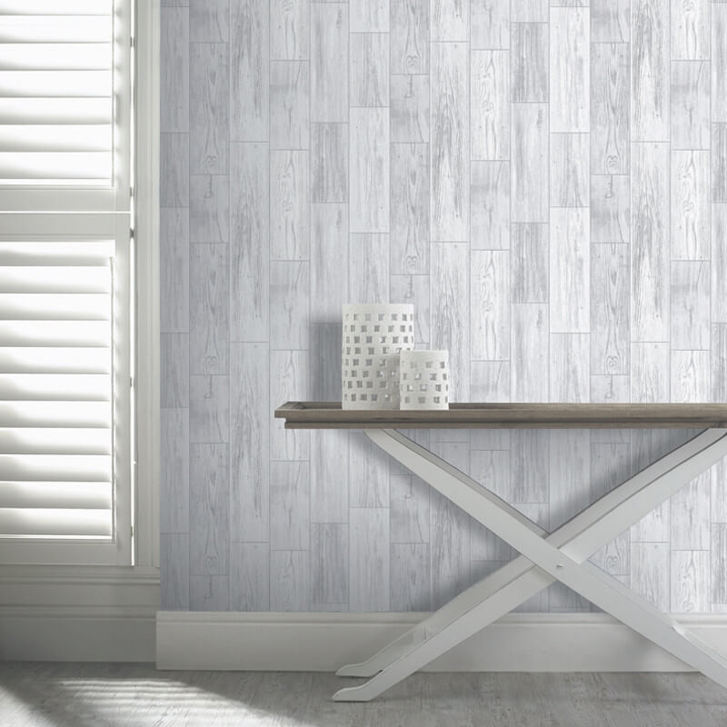 Arthouse VIP Salcombe Wood Wallpaper in Grey - 693201