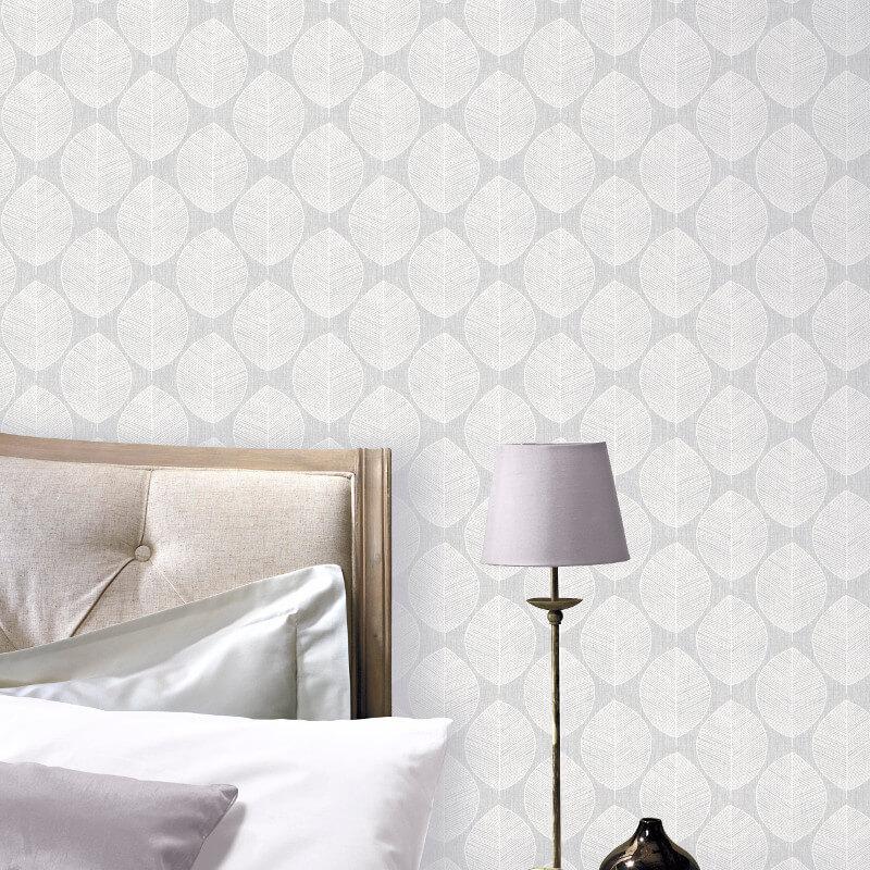 Arthouse VIP Scandi Leaf Grey Wallpaper - 908203