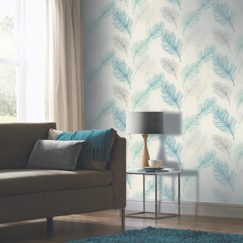 teal wallpaper living room