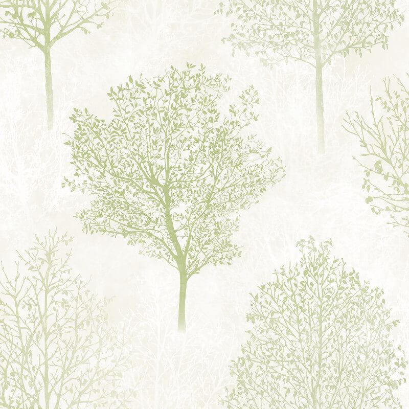 Arthouse Wonderland Tree Green Glitter Wallpaper - 256703