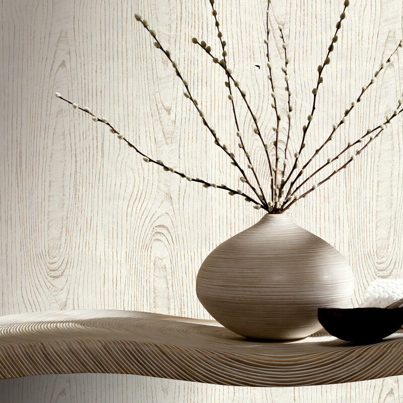 Arthouse Wood Grain White/Grey Wallpaper - 610806