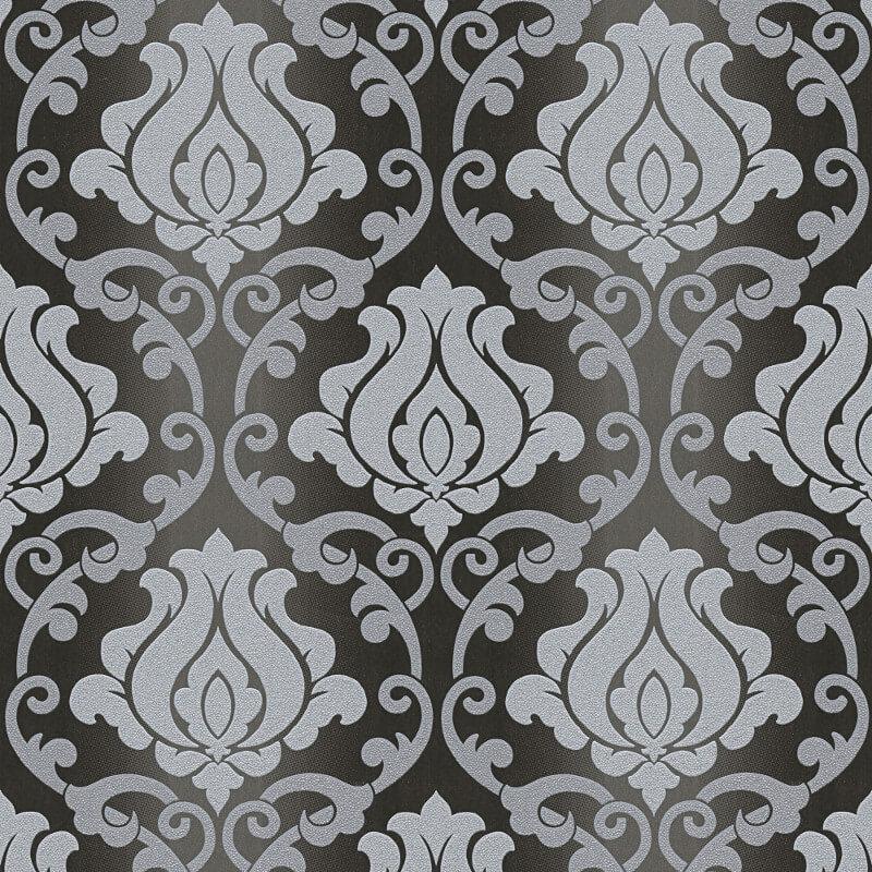 AS Creation Omega Damask Black/Silver Glitter Wallpaper - 34860-4