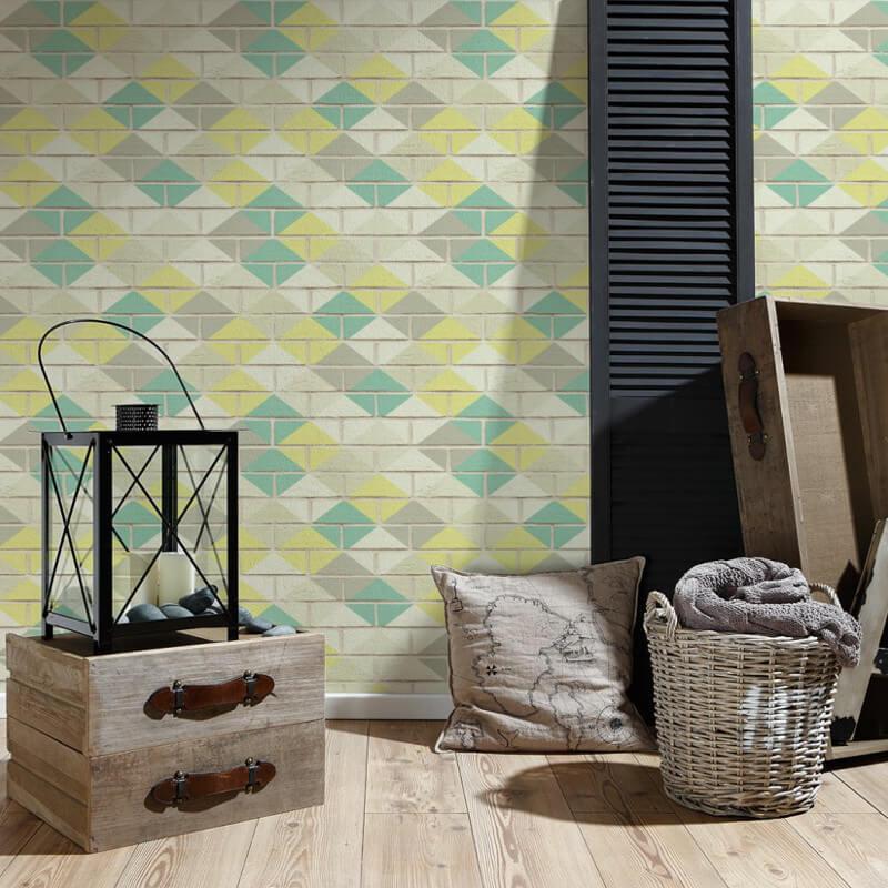 AS Creation Diamond Brick Lime Wallpaper