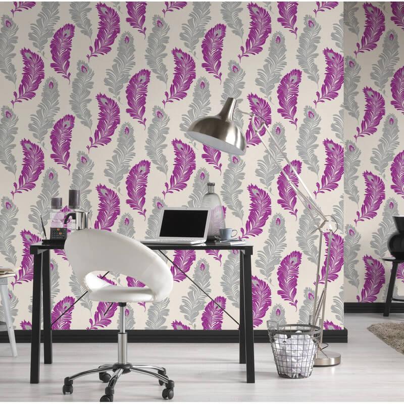 AS Creation Feather Purple/Grey Glitter Wallpaper - 305094
