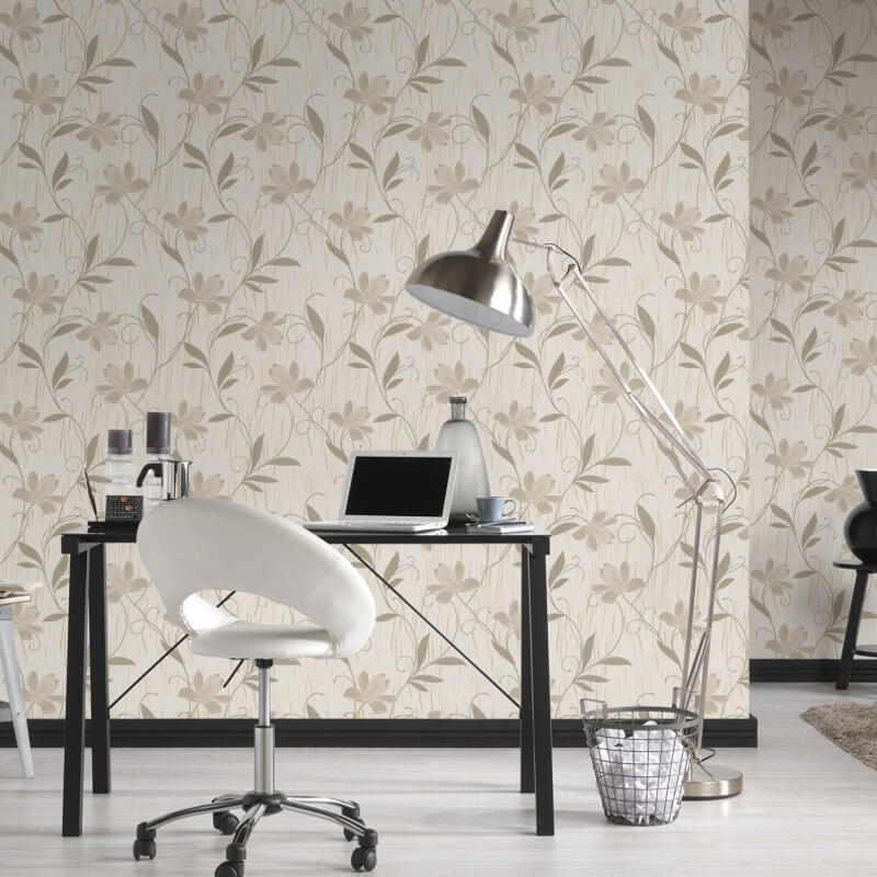 AS Creation Lotus Floral Gold Glitter Wallpaper - 9496-53