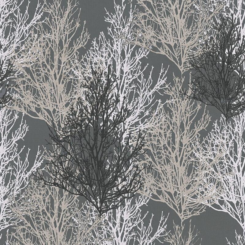AS Creation Omega Tree Black/Silver Glitter Wallpaper - 34819-4
