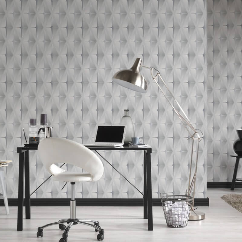 AS Creation Square 3D Effect Grey/White Wallpaper - 96041-2
