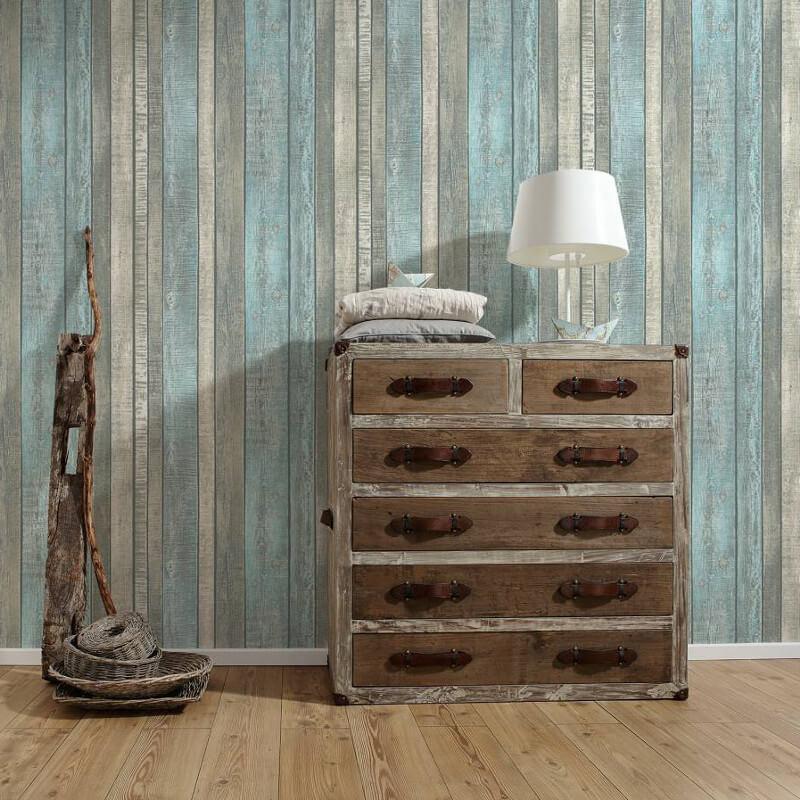 AS Creation Wood Panel Blue/Cream Wallpaper - 31993-2