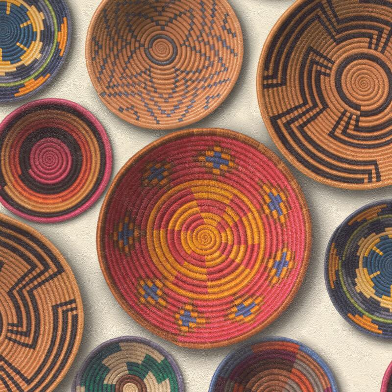 Barbara Becker Woven Baskets Multi Wallpaper - 862010
