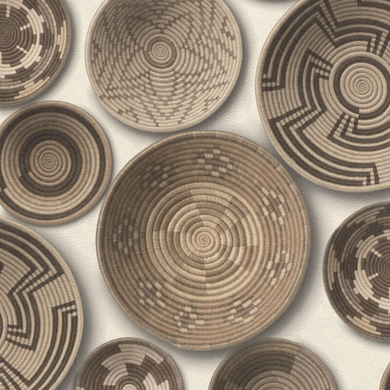 Barbara Becker Woven Baskets Natural Wallpaper - 862003