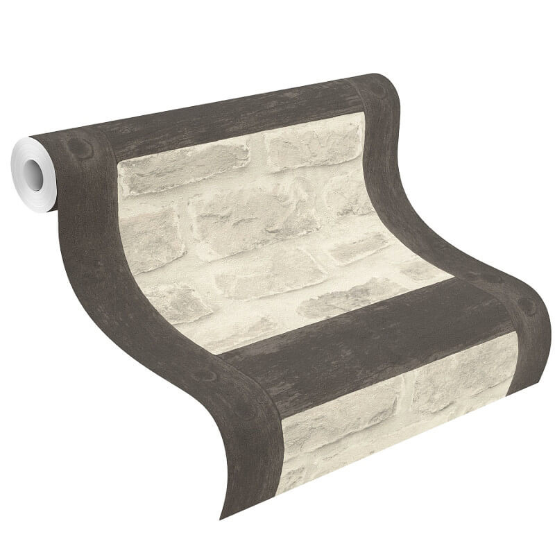 Barbara Becker Dark Timber and Stone Wallpaper - 860504
