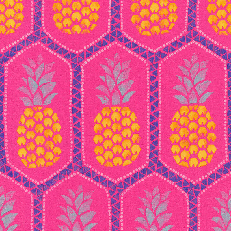 Barbara Becker Pineapples Fuchsia/Yellow Wallpaper - 862126