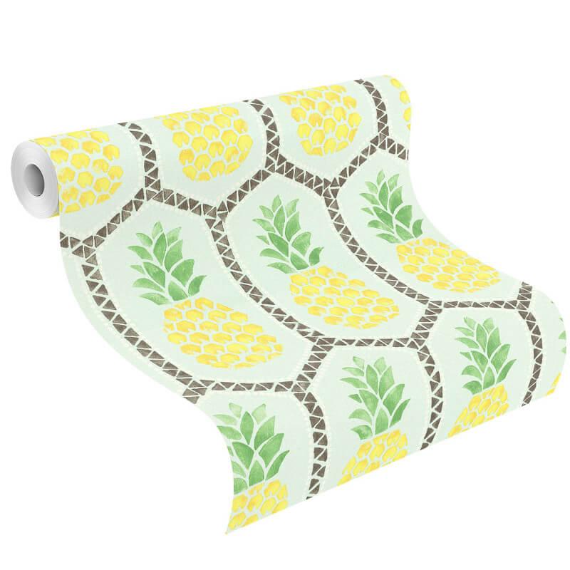 Barbara Becker Pineapples Green/Yellow Wallpaper - 862133