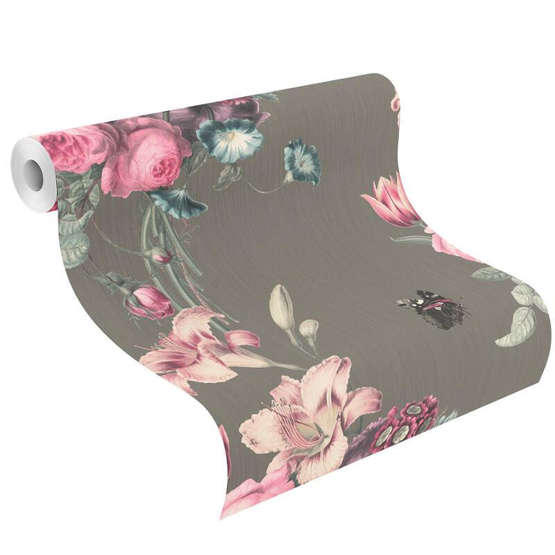 Barbara Schöneberger Bouquet Floral Grey/Pink Wallpaper - 527667