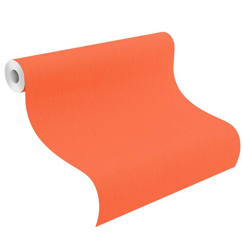 Barbara Schöneberger Cotton Texured Plain Orange Wallpaper - 527360