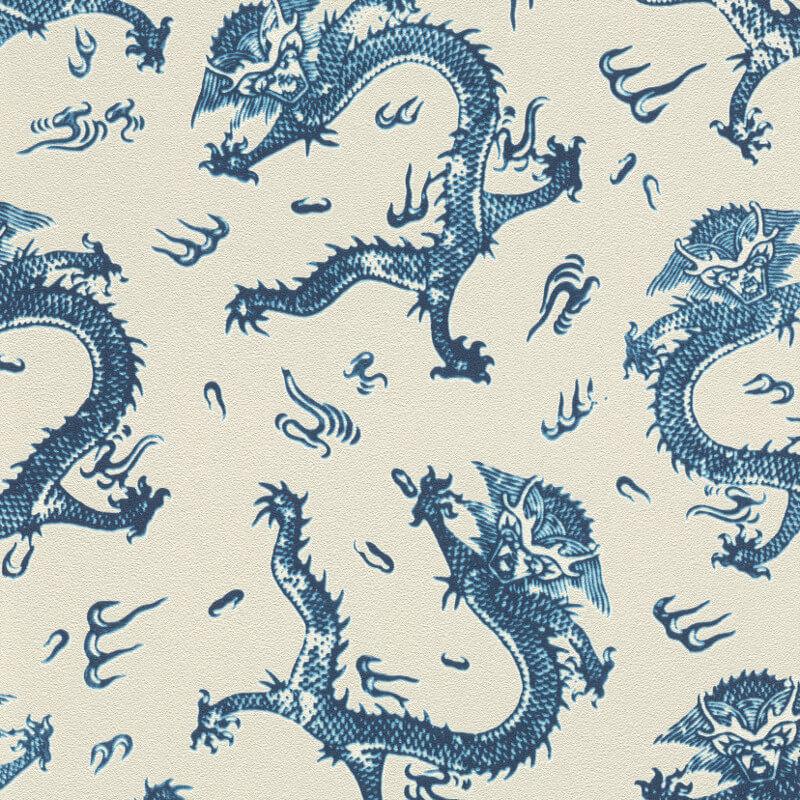 Barbara Schöneberger Dragon Motif Cream/Blue Wallpaper - 527940