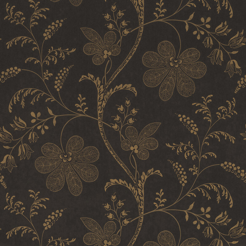Little Greene Bedford Square Wallpaper in Ebony Gold