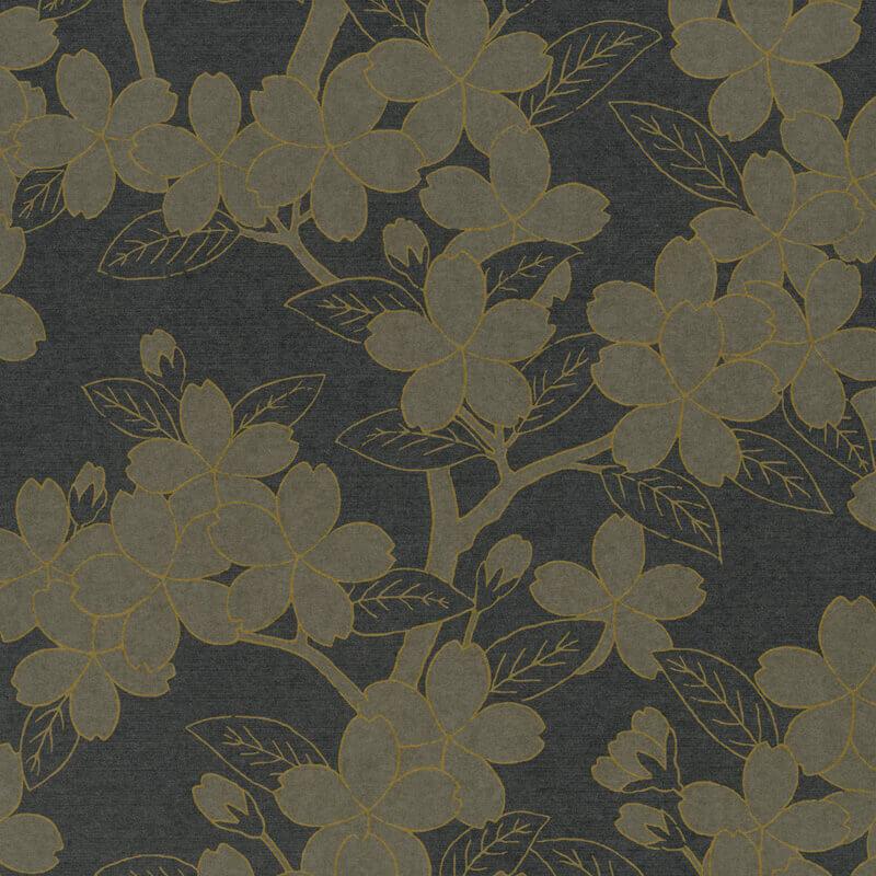 Little Greene Oriental Camellia Wallpaper in Charcoal