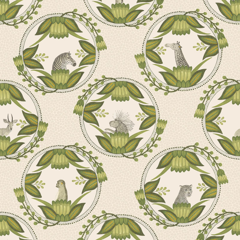 Cole & Son Ardmore Cameos Stone/Green Wallpaper - 109/9041