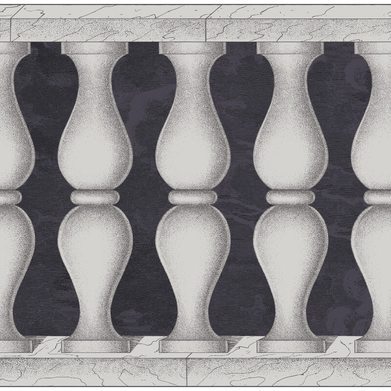Cole & Son Balaustra Midnight/Silver Wallpaper Frieze - 97/3009