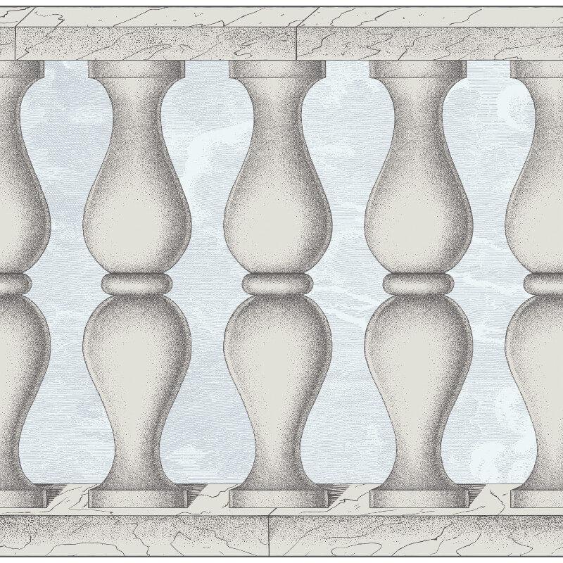 Cole & Son Balaustra Pale Blue Wallpaper Frieze - 97/3010