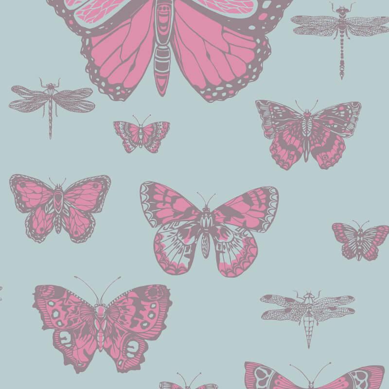Cole & Son Butterflies Pink/Blue Wallpaper - 103/15062