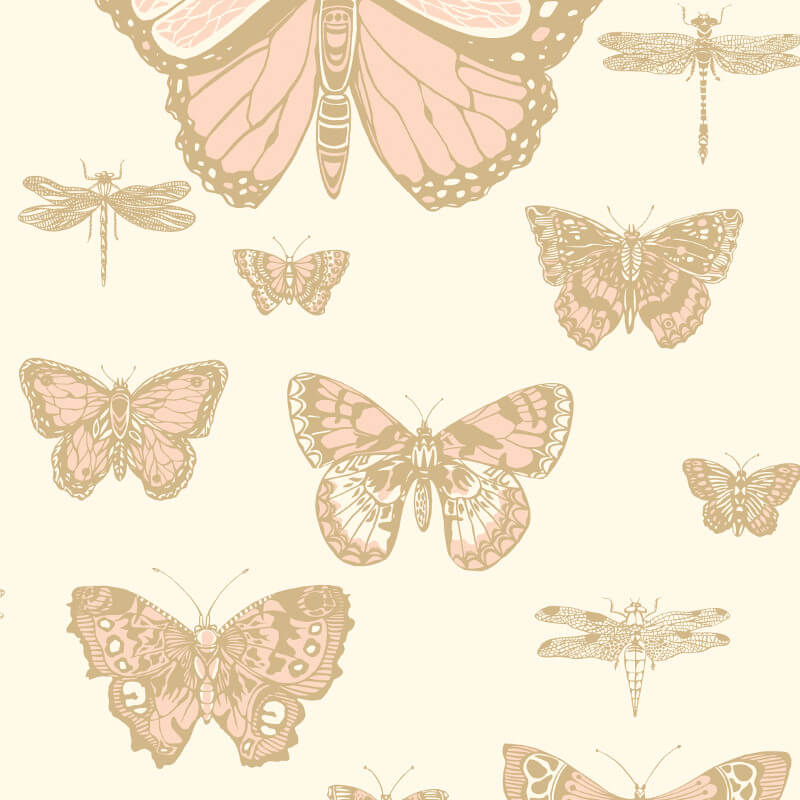 Cole & Son Butterflies Pink/Ivory Wallpaper - 103/15066