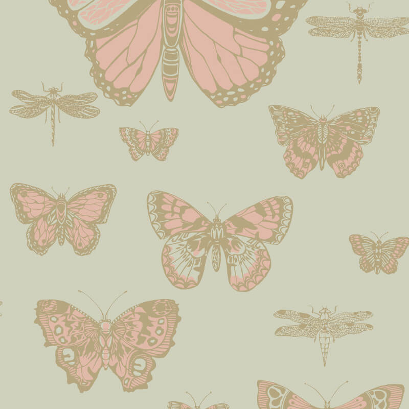 Cole & Son Butterflies Pink/Olive Wallpaper - 103/15063