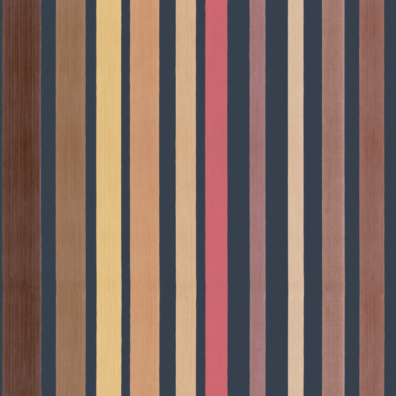 Cole & Son Carousel Stripe Rustic Charcoal/Red Wallpaper - 110/9044