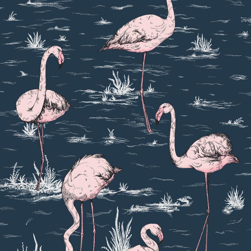 Cole & Son Flamingos Ink/Alabaster Pink Wallpaper - 112/11041