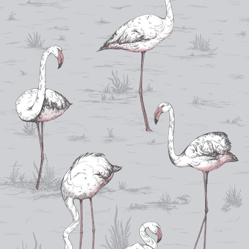 Cole & Son Flamingos Lilac/Grey Wallpaper - 112/11040