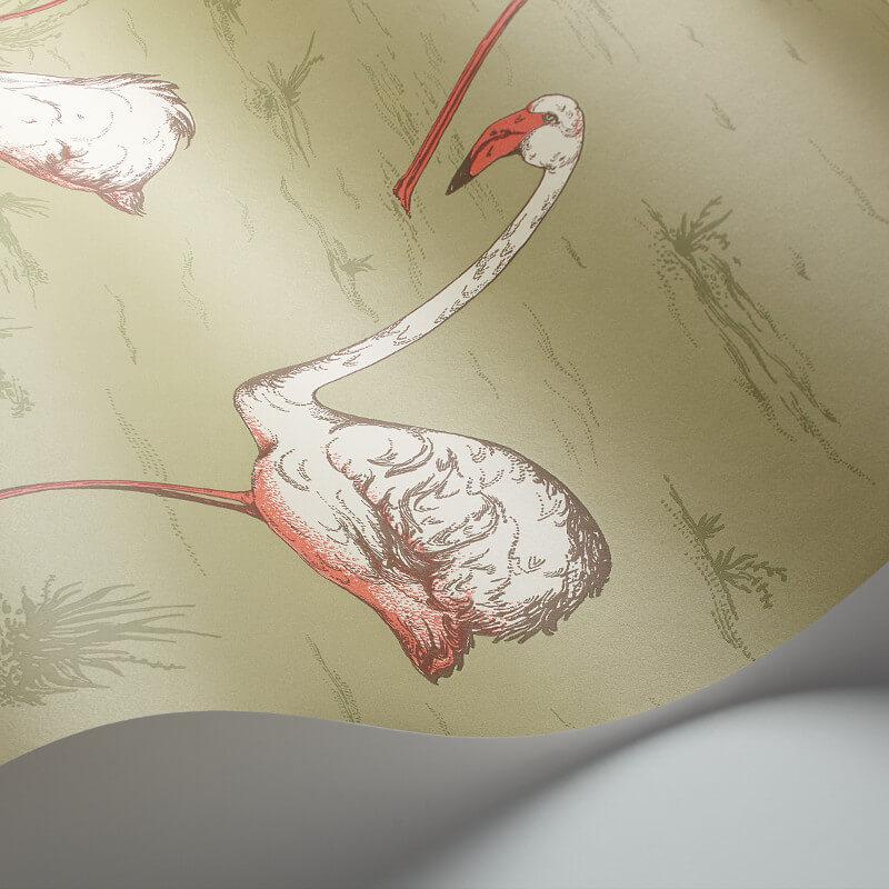 Cole & Son Flamingos Olive Wallpaper - 112/11038