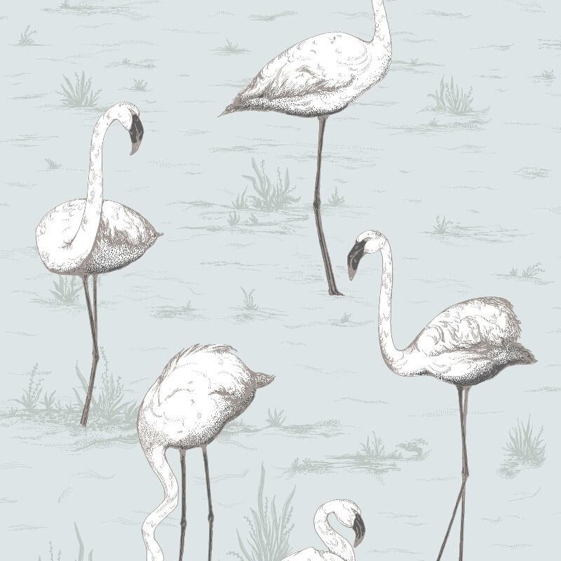 Cole & Son Flamingos Soft Blue Wallpaper - 95/8047