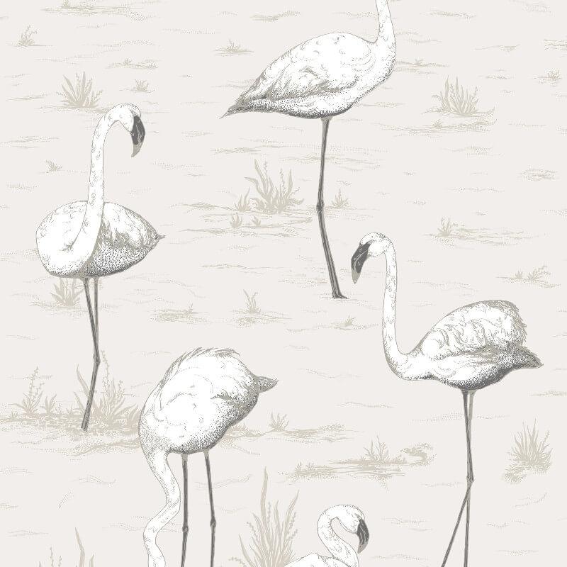Cole & Son Flamingos Soft Grey Wallpaper - 95/8046