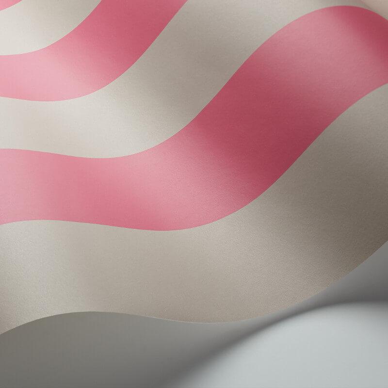 Cole & Son Glastonbury Stripe Pink/Linen Wallpaper - 110/6031
