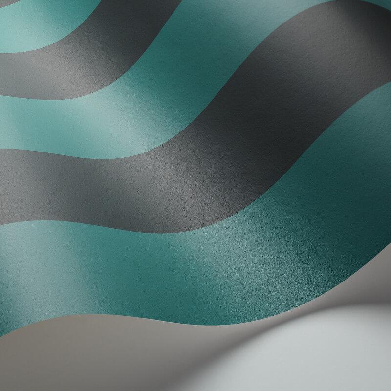 Cole & Son Glastonbury Stripe Teal/Charcoal Wallpaper - 110/6032