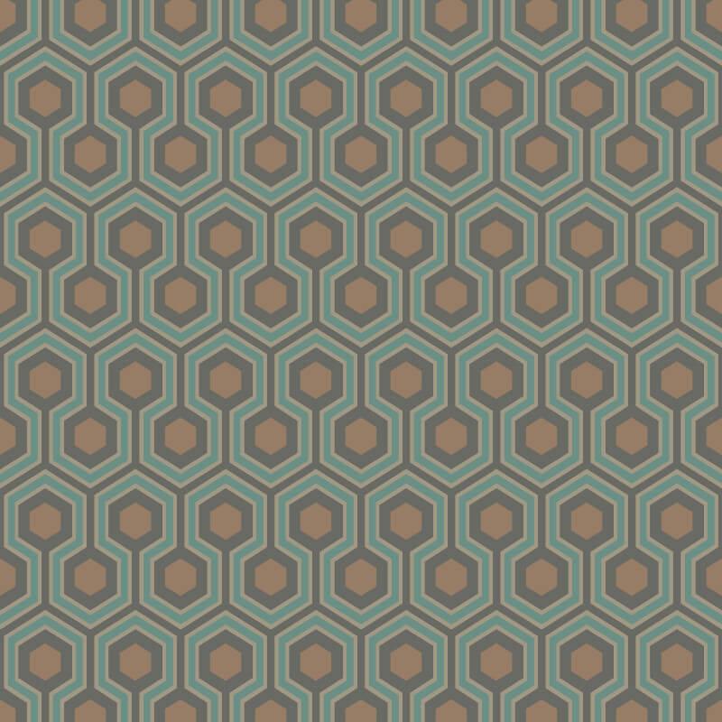 Cole & Son Hicks Hexagon Teal/Gold Wallpaper - 95/3018