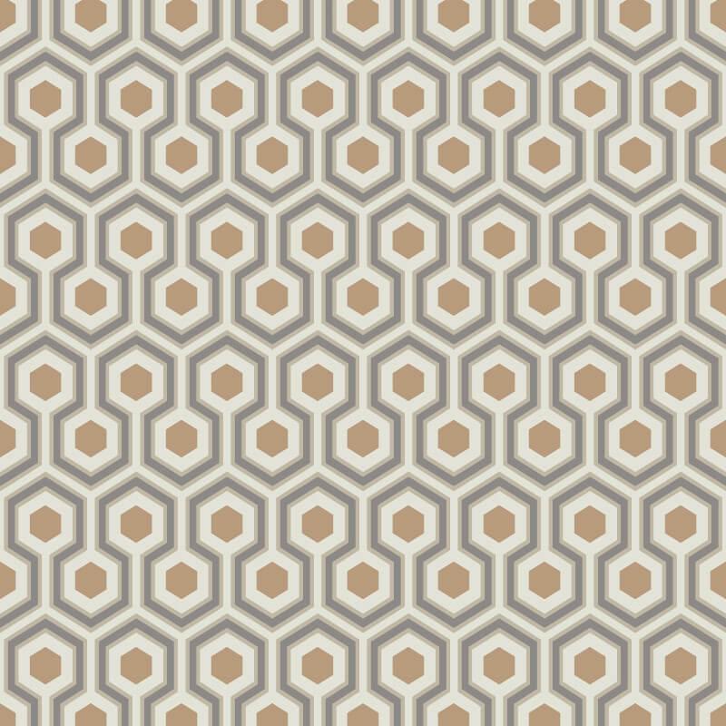 Cole & Son Hicks Hexagon Taupe/Bronze Wallpaper - 95/3017