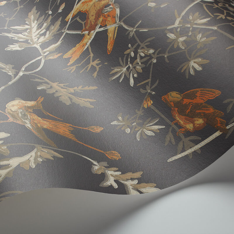 Cole & Son Hummingbirds Charcoal/Ginger Wallpaper - 112/4017