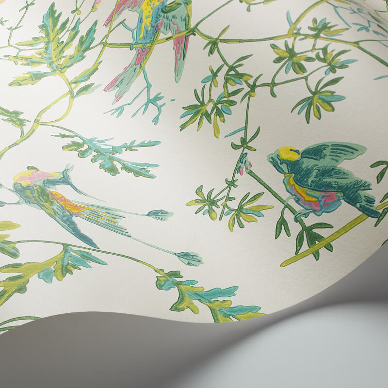 Cole & Son Hummingbirds Green/Pink Wallpaper - 112/4015