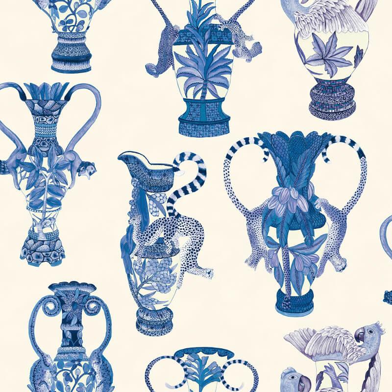 Cole & Son Khulu Vases Blue/White Wallpaper - 109/12059