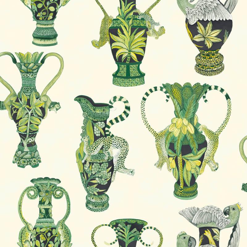 Cole & Son Khulu Vases Green/White Wallpaper - 109/12056