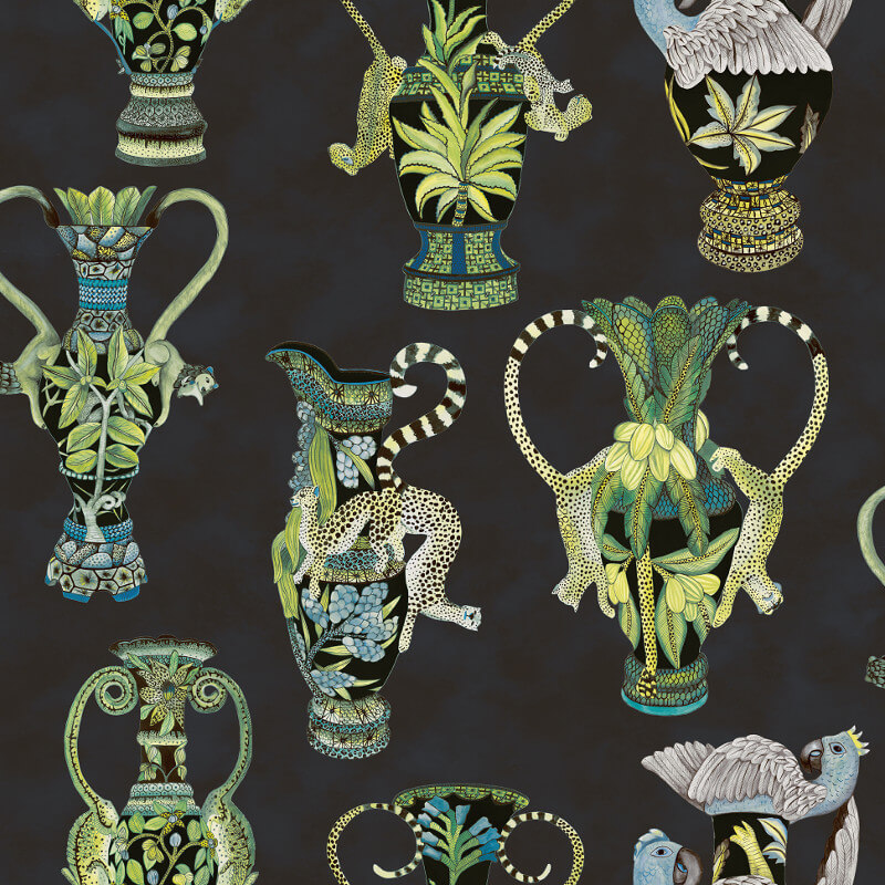 Cole & Son Khulu Vases Midnight Wallpaper - 109/12058