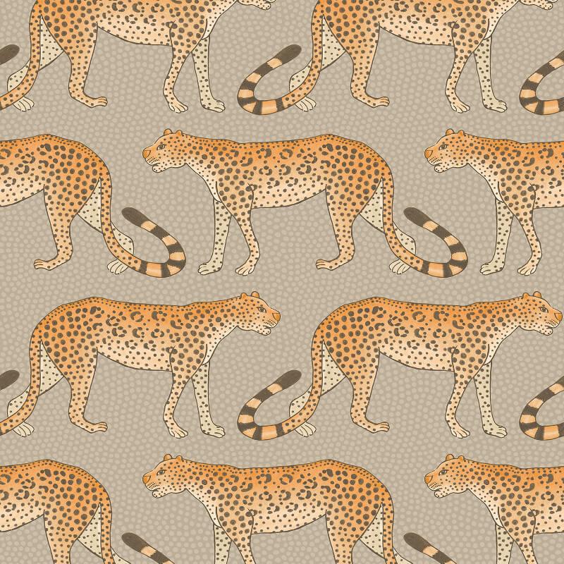 Cole & Son Leopard Walk Stone/Orange Wallpaper - 109/2010