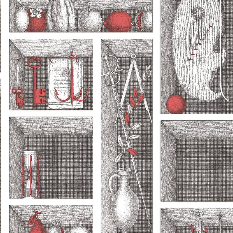 Cole & Son Nicchie Black/White/Red Wallpaper - 97/11034