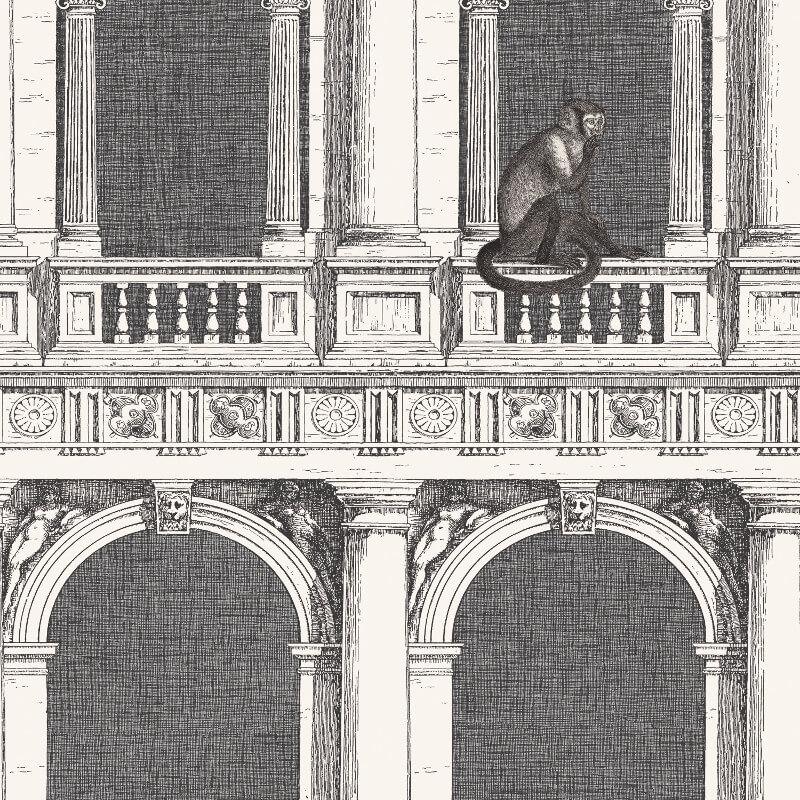 Cole & Son Procuratie e Scimmie Black/White Wallpaper - 97/8024