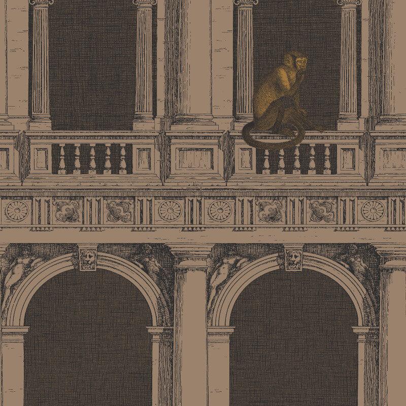 Cole & Son Procuratie e Scimmie Linen/Gold Wallpaper - 97/8025